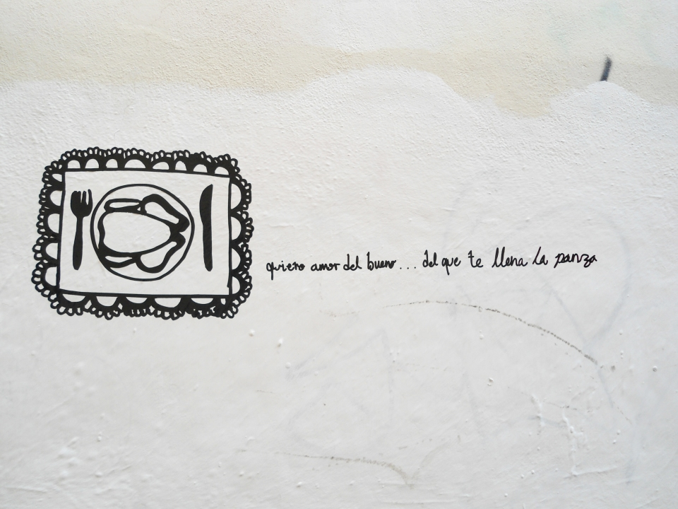 """""""amor del bueno"""" vinyl letters on a wall 2012"""