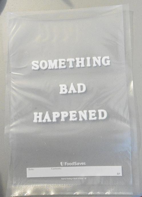 """""""something bad happened al vacio"""" vacuum sealed letters 2012"""