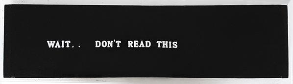 """""""wait...don't read this"""" plastic letters on canvas 25 x 60 cm 2012"""